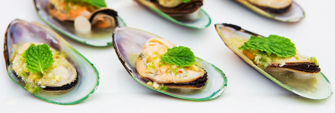 Mussels prepared as an appetizer